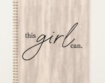 "Start Anytime Planner ""this girl can."" Blush Pearl Background, Planner for Her, School Planner, Office Planner, Motivate Planner"