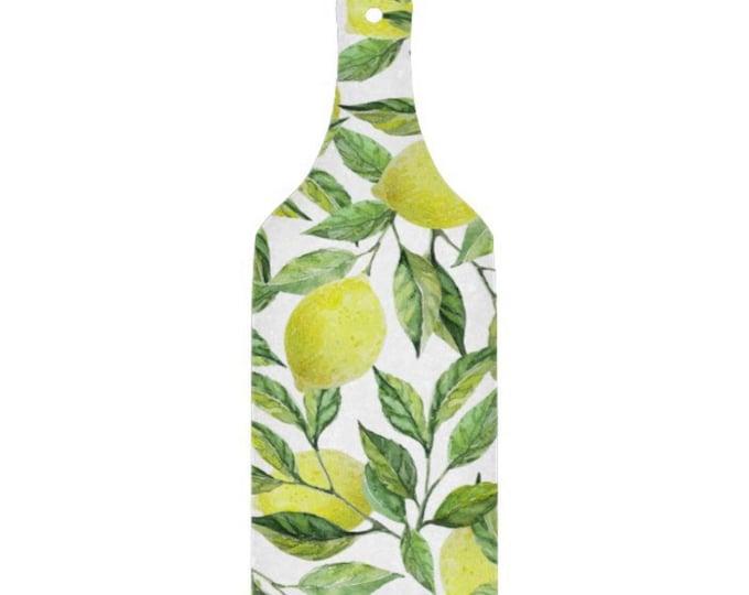 Lemon Glass Cutting Board Paddle, Lemon and Leaves, Yellow and Green, Lemon Pattern Kitchen Decor