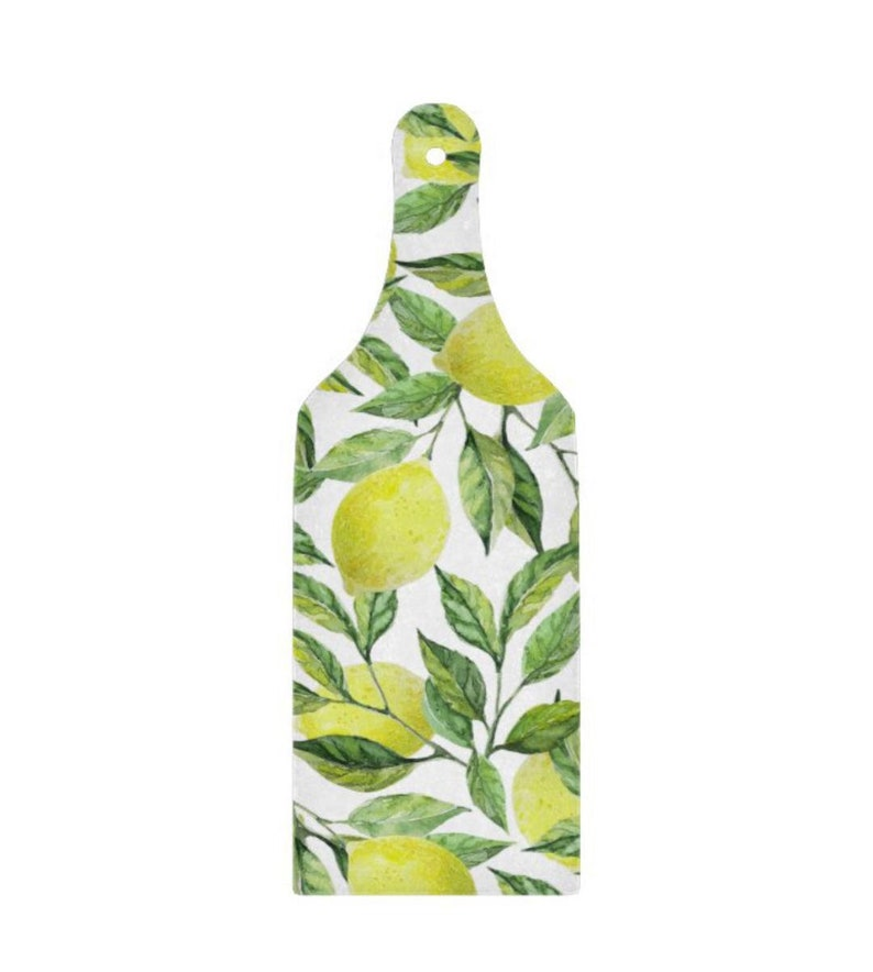 Lemon Glass Cutting Board Paddle Lemon and Leaves Yellow and image 1