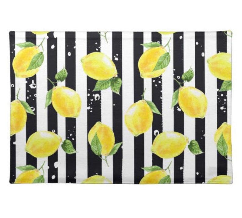 Lemon Placemat Set of 4 Black and White Stripe Lemon and image 0