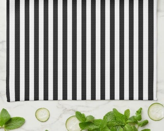 Striped Kitchen Towel, Black and White Stripe, Mother's Day Gift,  Gift For Her, Gift for Friend