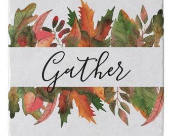 """Autumn """"Gather"""" Marble Trivet, Fall Leaves, Fall Kitchen Decor, Stone Trivet"""