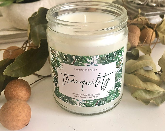 Tranquility Natural Soy Wax Candle 7.5 oz, Aromatherapy Candles, Mindfulness Candle, Gift for Her, Light and Airy Scent, Friendship Gift