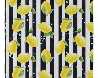 Lemons Marble Trivet, Yellow Lemon with Black Stripe, Lemon Kitchen Decor