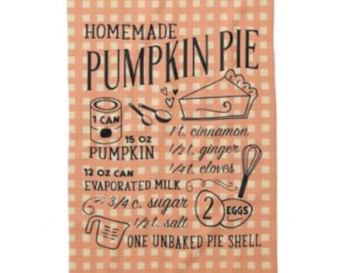 Fall Kitchen Towel, Pumpkin Pie Recipe, Orange Blue Check, Pumpkin Pie Recipe Towel, Hostess Gift, Housewarming Gift, Thanksgiving Towel