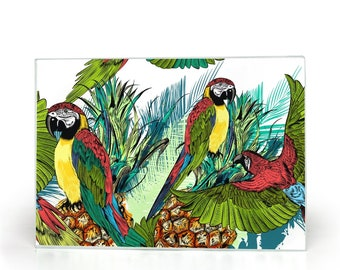 Tropical, Glass Cutting Board, Parrots And Pineapples