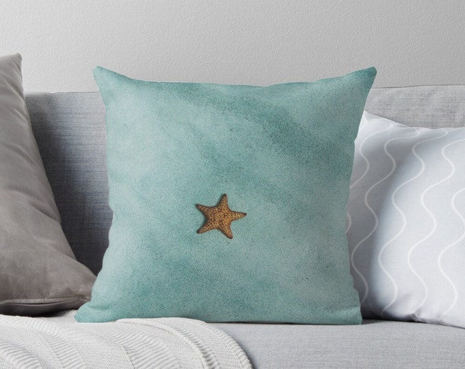 Starfish Pillow Cover, Size 16 X 16, Watercolor Starfish and Ocean Water, Beach Home Accents, Starfish Accent Pillow, Zippered PIllow Cover