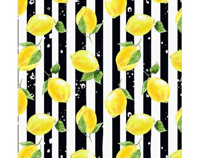 Lemon Napkins, Set of 4, Black & White Stripe, Lemon and Stripe, Cotton Twill, Cloth Napkins