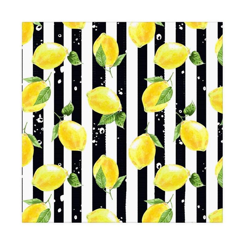 Lemon Napkins Set of 4 Black & White Stripe Lemon and image 1