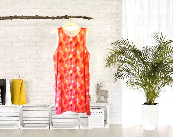 A-Line Dress Yellow, Peach, Orange,  Watercolor Dragon Scale Pattern, Women, Flatters All Figures, Loose  Flowy Style