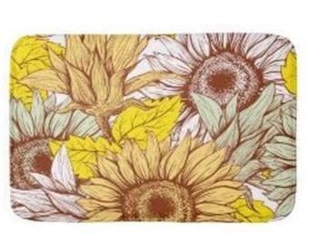 Sunflower Bath Mat, Sunflower Floral Print, Sunflower Bath Decor, Yellow, Brown, Sage Sunflower Design