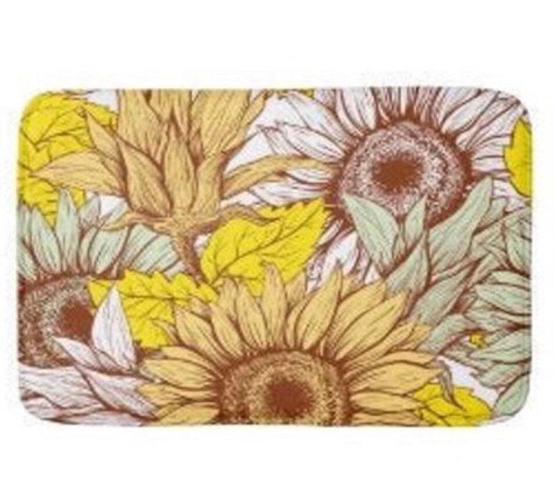 Sunflower Bath Mat Sunflower Floral Print Sunflower Bath image 1
