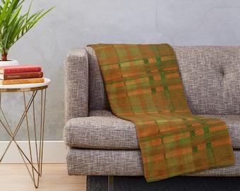 Tartan Plaid Blanket, Orange, Green, Tartan Plaid Accent Throw, Living Room Refresh, Earth Colors Accent, Fall Plaid Blanket, Cabin Decor