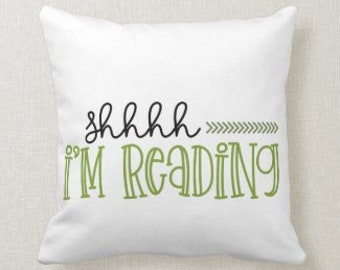 """Bookworm's Pillow, """"Shhh I'm Reading'"""" Book Lover Pillow, Green Gingham, Love to Read Pillow, Reading Pillow, PIllow and Cover"""