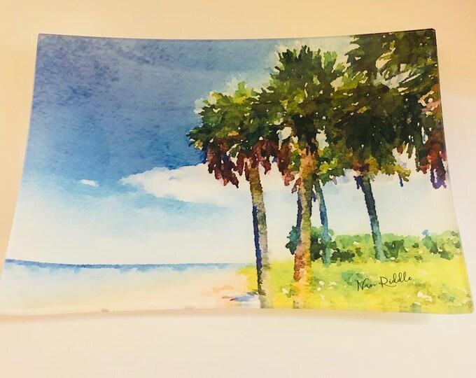Glass Serving Tray, Beach Island Paradise, Beach Home Decor, Trinket Tray, Coastal Watercolor, Tropical Island