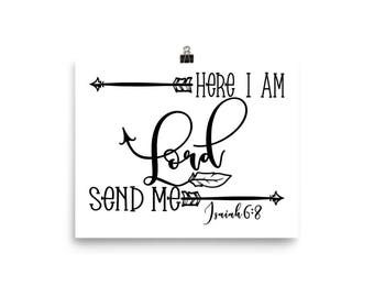 """Home Decor Wall Art Ready to Frame Poster """"Here I Am Lord Send Me"""""""