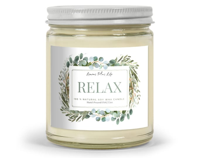 Relax Candle, Natural Soy Wax Blend, 7.5oz Glass Jar, Gift for Her, Spa Bath Candle, Message Candle, Aromatherapy, Friendship Gift