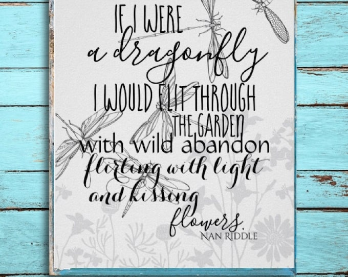 Dragonfly Poem Poster, If I Were a Dragonfly Poem, Ready to Frame, Dragonfly Art