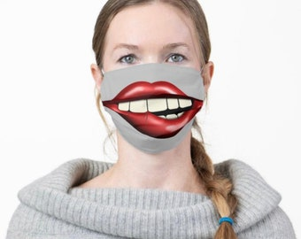 """Face Mask """"Chewing on Lips"""" Big Mouth, Men and Women Funny Mask, Halloween Smile Mask"""