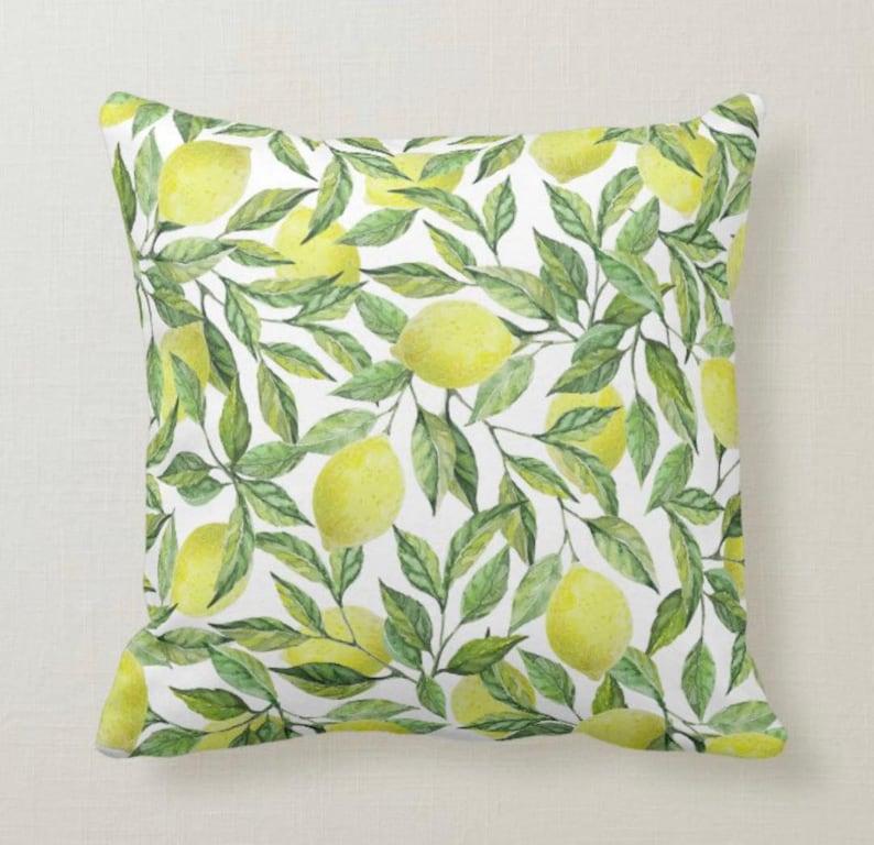 Lemon Throw Pillow Lemon and Leaves Yellow and Green Lemon image 1