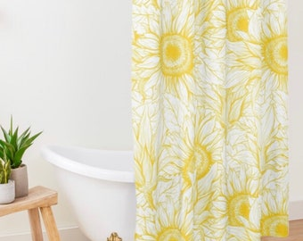 Polyester Sunflower Shower Curtain, Sunflower Floral Print, Sunflower Bath Decor, Yellow and White Sunflower Design