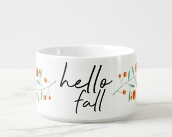 """Fall Chili Bowl """"Hello Fall"""" Porcelain, Botanical Orange Berries and Leaves, 14 oz, Bowl With Handle"""