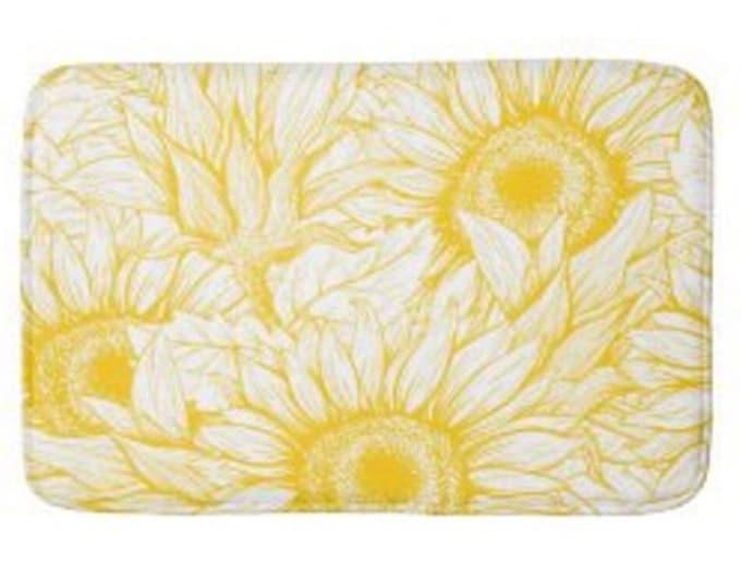 Yellow Sunflower Bath Mat, Sunflower Floral Print, Sunflower Bath Decor, Yellow and White Sunflower Design