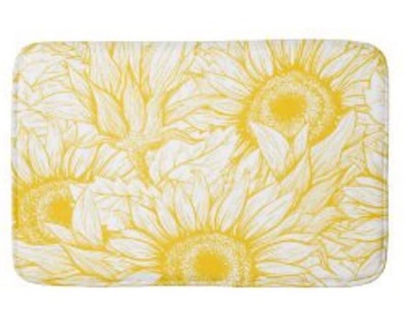 Yellow Sunflower Bath Mat Sunflower Floral Print Sunflower image 1