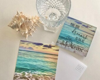 """Ocean Gift Set of 2, Glass Coaster """"Make Your Dreams As Big As the Ocean"""" Matching Flat Card w/Envelope, Beach Ocean Theme Gifts"""