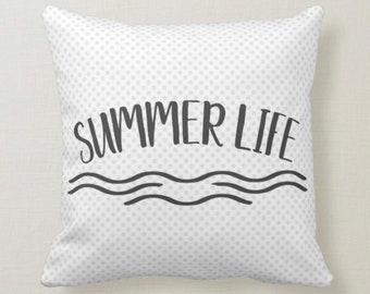 Throw Pillow, Summer Life, Light Blue Polka-Dots, Typography,