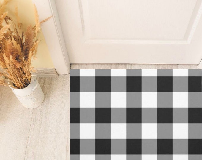 Buffalo Plaid Door Mat, Black and White, Indoor Outdoor Covered Porch Mat, Checked Decor, Every Season Porch Decor