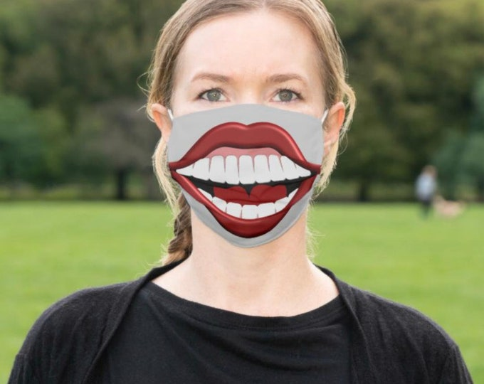 """Face Mask """"Big Smile, Happy Teeth"""" Big Mouth, Men and Women Funny Mask, Halloween Smile Mask"""