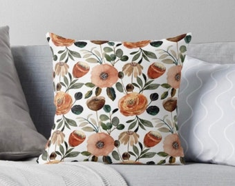 Orange Floral Pillow, Earth Tone Botanics, Pillow and Insert, Earth Tones Flower Pillow, Fall Floral Pillow