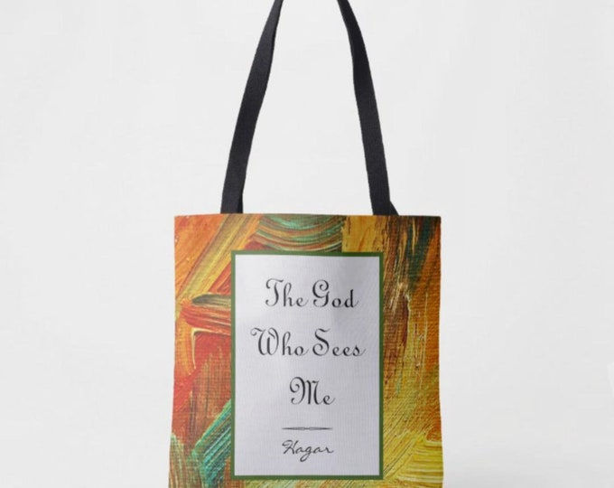 Tote Bag, The God Who Sees Me, Hagar, Quote, Faith, Religious Tote Bag, Bible Verse