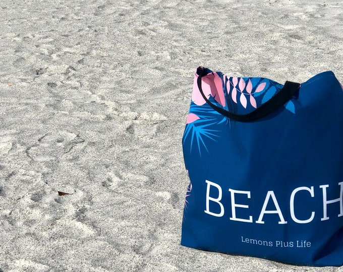 Beach Tote Bag Blue and Pink Floral