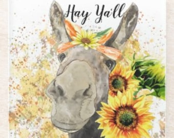 """Sunflower Glass  Coaster, Watercolor Donkey with Sunflowers """"Hay Ya'll"""" Gifts for Her, Sunflower and Donkey Coaster"""