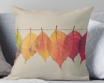 """Fall Pillow """"Autumn Leaves On A String"""" Fall Decor, Pillow & Insert, Fall Leaves"""