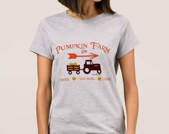 """Grey Women's T-shirt """"Pumpkin Farm"""""""