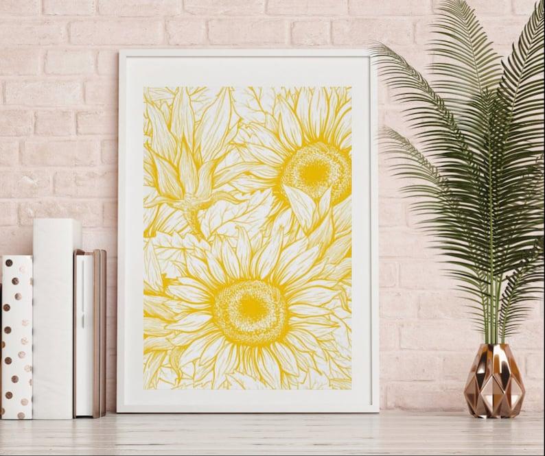 Sunflower Wall Art Sunflower Print Poster Ready to Frame image 0