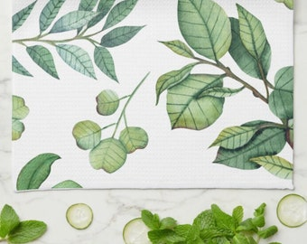 Botanic Kitchen Towel, Calming, Natural Green Leaf Pattern, White Background, Mother's Day Gift,  Gift For Her, Gift for Friend