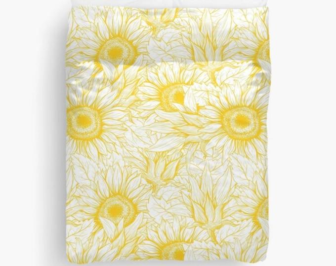 Golden Sunflower Duvet Cover, Polyester and Cotton, Washable, Sunflower Bedroom Decor, Sunflower Bedding, Bedroom Refresh