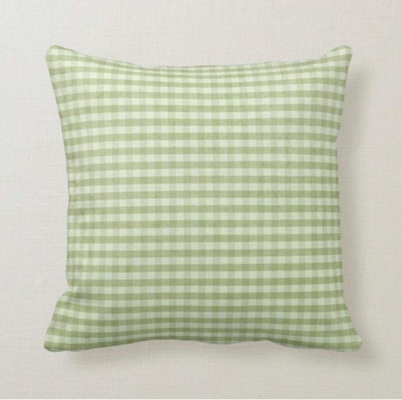 Throw Pillow Summer Shabby Chic Green Gingham Summer image 1