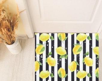 Lemon Door Mat, Yellow Lemon and Stripe, Black and White Stripe, Indoor Outdoor Rug, Citrus Home Decor, Lemon Decor, Front Porch