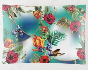 Tropical Decorative Glass Tray, Exotic Floral, Blue Hush, Island Flowers, Trinket Dish