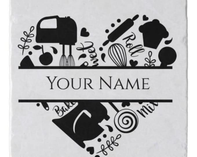 Personalize, Trivet, Baking Theme, Your Name, Kitchen Decor, Marble Stone Trivet