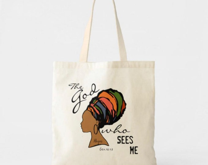"""Canvas Tote Bag """"The God Who Sees Me"""", Colorful Tote, Woman in Turban, Hagar, Bible Verse, Religious Tote Bag"""
