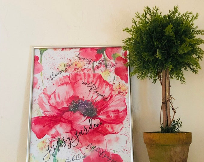 "Wall Art, Print, Red Poppy, ""Gypsy Garden"" Wildflower, Floral, Poster"