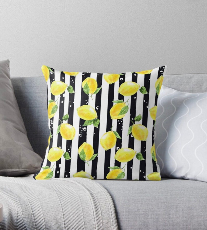 Throw Pillow Yellow Lemon Pattern Black & White Striped image 1