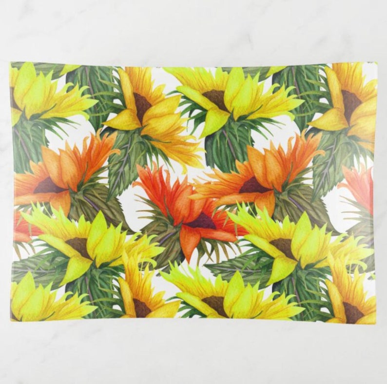 Decorative Glass Tray Vibrant Sunflower Garden Yellow and image 1