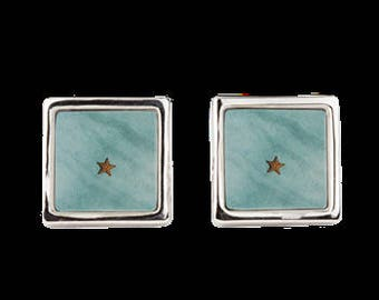 """Square Cuff Links """"Starfish in Turquoise Ocean Water"""""""